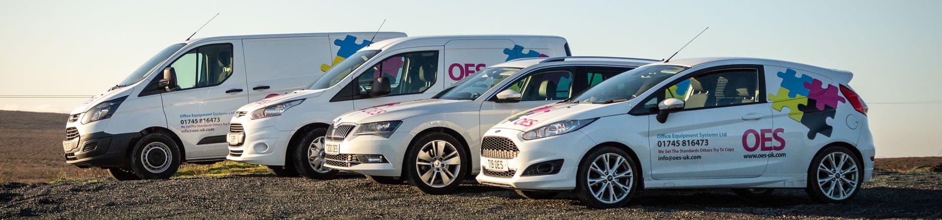 OES fleet parked on the Denbigh Moors