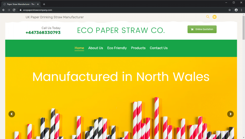 The Eco Paper Straw Company brochure website