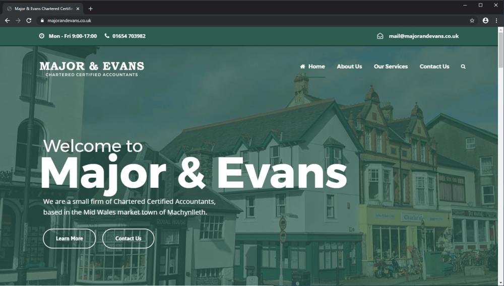 Major & Evans Accountants website screenshot