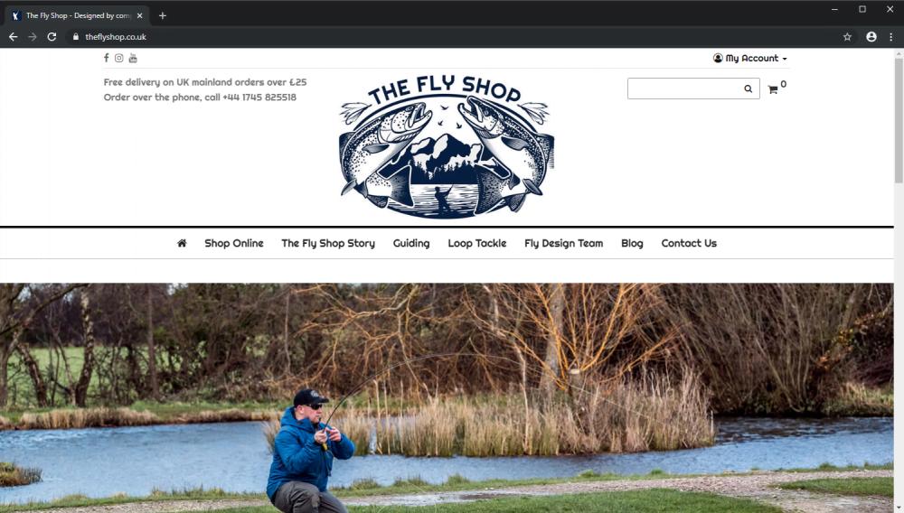 The Fly Shop fishing ecommerce website screenshot