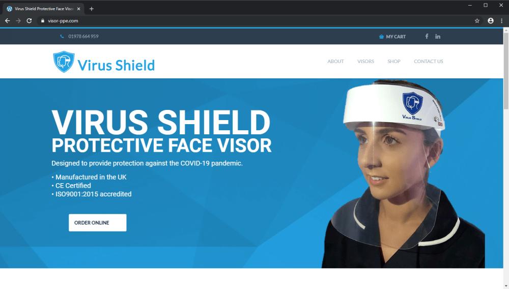 Virus Shield PPE ecommerce website screenshot